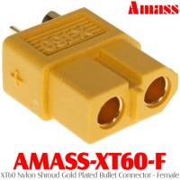 Amass (AMASS-XT60-F) XT60 Nylon Shroud Gold Plated Bullet Connector - Female