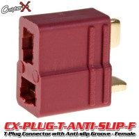CopterX (CX-PLUG-T-ANTI-SLIP-F) T-Plug Deans Style Connector with Anti-slip Groove - Female