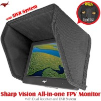 HAWK-EYE Aerial Video Technology (HEAVT-SV-5.8G-04) Sharp Vision All-in-one FPV Monitor with Dual Receiver and DVR System
