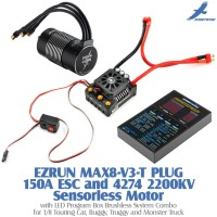 Hobbywing EZRUN MAX8-V3-T PLUG 150A Water-proof Brushless ESC with T Plug and 4274 2200KV Sensorless Motor with LED Program Box Brushless System Combo for 1/8 Touring Car, Buggy, Truggy and Monster Truck
