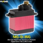 Fusonic (MG-D-16G) Mini Size Metal Gear Aluminum Heatsink Digital Servo 16G 2.5KG 0.13sec