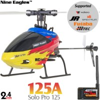 Nine Eagles (NE-R/C-125A-SOLO-PRO-RY-GL) SOLO PRO 125 6CH Flybarless Micro Helicopter with General Link ARTF (Red-Yellow) - 2.4GHz