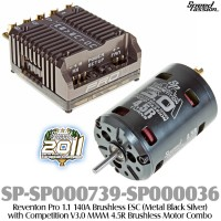 Speed Passion (SP-SP000739-SP000036) Reventon Pro 1.1 140A Brushless ESC (Metal Black Silver) with Competition V3.0 MMM 4.5R Brushless Motor Combo