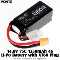 Vcanz Power 14.8V 75C 1350mAh 4S Li-Po Battery with XT60 Plug for Mini Multicopter, Racing Drone
