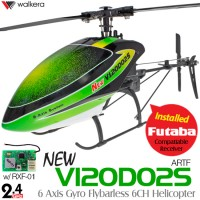 WALKERA NEW V120D02S 6 Axis Gyro Flybarless 6CH Helicopter with FUTABA Compatible RXF-01 Receiver without Transmitter ARTF (Green) - 2.4GHz